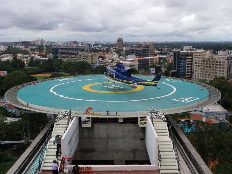 Landing at ITC Bangalore Rooftop Helipad